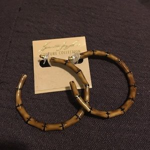 Kenneth Jay Lane couture bamboo hoop earrings
